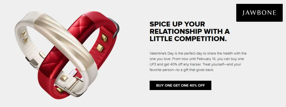 JawBone - 40% Off DEAL - Valentine Day Coupon