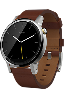 Moto 360 2nd Gen for Men 42mm - Silver with Cognac Leather