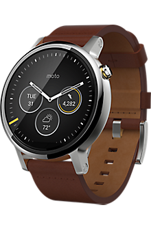Moto 360 2nd Gen for Men 46mm - Silver with Cognac Leather