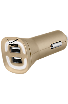 4.8A Vehicle Charger with Dual Output - Gold