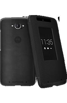 Motorola Flip Case for DROID Turbo - Black Leather and Ballistic Nylon