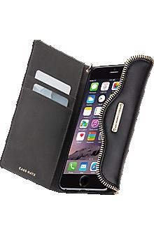 Genuine Leather Folio Wristlet for iPhone 6/6s - Black