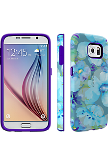 Speck CandyShell INKED for Samsung Galaxy S 6 - Aqua Floral Blue/UltraViolet Purple