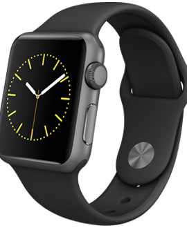 Apple Watch Sport: 38mm Space Gray Aluminum Case w/ Black Sport Band