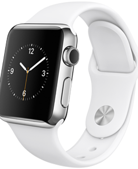 Apple Watch: 38mm Stainless Steel Case w/ White Sport Band