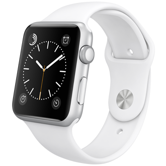 Apple Watch Sport: 42mm Silver Aluminum Case w/ White Sport Band