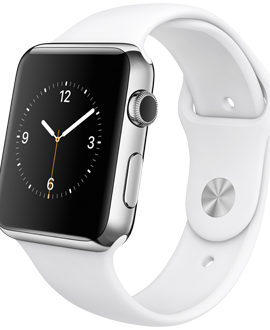 Apple Watch: 42mm Stainless Steel Case w/ White Sport Band