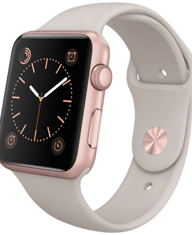Apple Watch Sport: 42mm Rose Gold Aluminum Case w/ Stone Sport Band