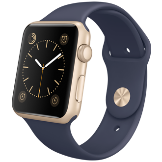 Apple Watch Sport: 42mm Gold Aluminum Case w/ Midnight Blue Sport Band