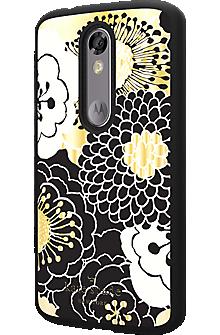 Flexible Hardshell Case for DROID Turbo 2 - Festive Floral Black/Gold/Cream