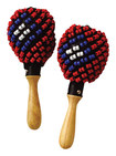 Tycoon Percussion - Beaded Maracas (pair) - Brown/red/blue/white/black