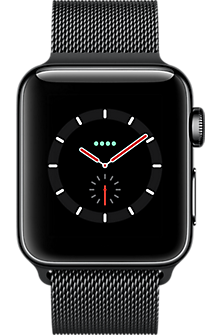 Apple® Watch Series 3 Black Stainless Steel 38mm Case with Milanese Loop