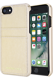 Saffiano Leather Pocket Case for iPhone 7 - Pale Gold