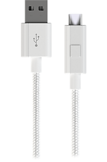 Micro USB Braided Charge-and-Sync Cable - White