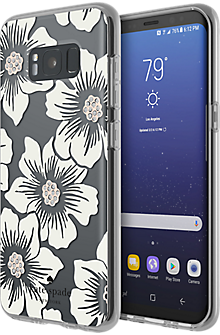 Flexible Hardshell Case for Samsung Galaxy S8 - Hollyhock Floral Clear/Cream with Stones