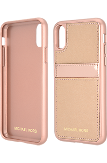 Saffiano Leather Pocket Case for iPhone X - Rose Gold/Ballet