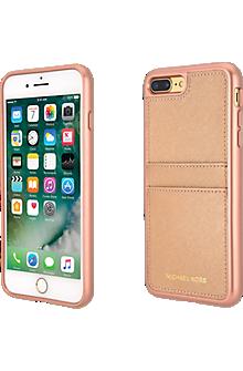 Saffiano Leather Pocket Case for iPhone 8 Plus/7 Plus - Ballet Rose Gold