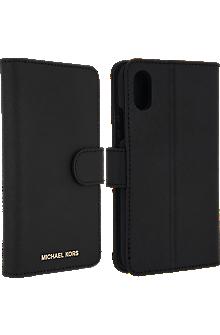 Saffiano Leather Folio Case for iPhone X - Black