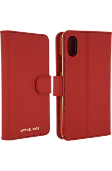 Saffiano Leather Folio Case for iPhone X - Red