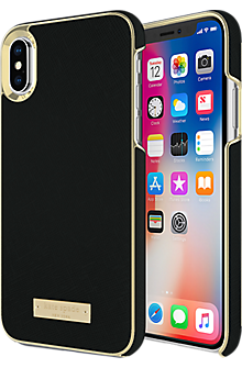Wrap Case for iPhone X - Saffiano Black/Gold Logo Plate