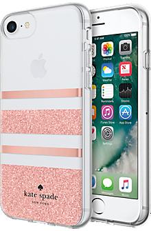 Flexible Hardshell Case for iPhone 8 - Charlotte Stripe Rose Gold Foil/Rose Gold Glitter