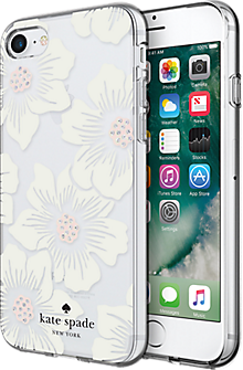 Flexible Hardshell Case for iPhone 8/7 - Hollyhock Floral Clear/Cream with Stones