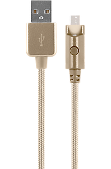 Braided Charge and Sync Cable for micro USB - Gold