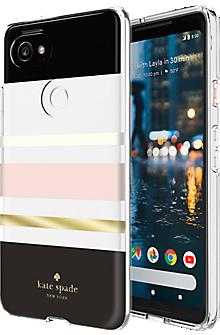 Flexible Hardshell Case for Pixel 2 XL - Charlotte Stripe Black/Cream/Blush/Gold Foil/Clear