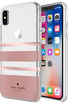 Flexible Hardshell Case for iPhone X - Charlotte Stripe Rose Gold Foil/Rose Gold Glitter