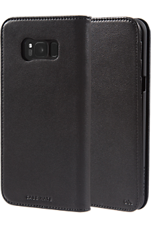 Leather Wallet Case for Galaxy S8+ - Black