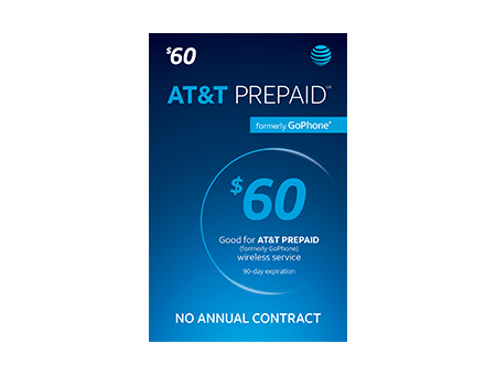 $60 AT & T PREPAID Refill Card