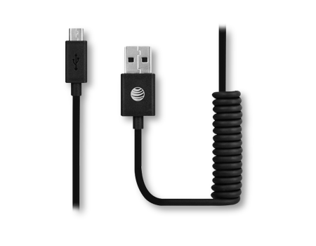 AT & T Cable Coiled 3 ft. Charge and Sync Micro USB
