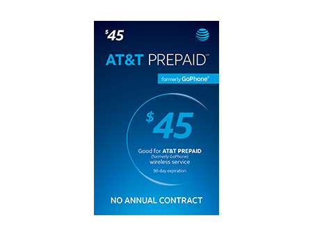 $45 AT & T PREPAID Refill Card