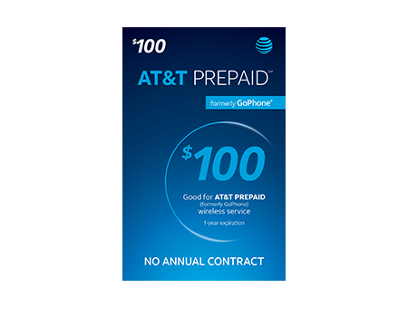 $100 AT & T PREPAID Refill Card