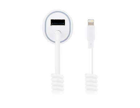 AT & T 3.4A Single USB and Corded Lightning Car Charger