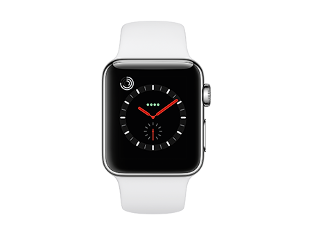 Apple Watch Series 3 - 38mm - Stainless - Soft White Sport