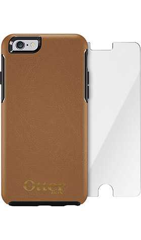OtterBox Symmetry Series Leather Edition Case + Alpha Glass Screen Protector Bundle for iPhone 6 Plus/6s Plus