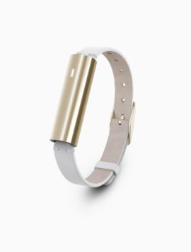 Misfit Ray Fitness & Sleep Tracker - Polished Stainless Steel Gold + White Leather Band