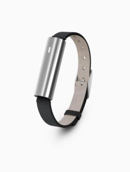 Misfit Ray Fitness & Sleep Tracker - Polished Stainless Steel + Black Leather Band