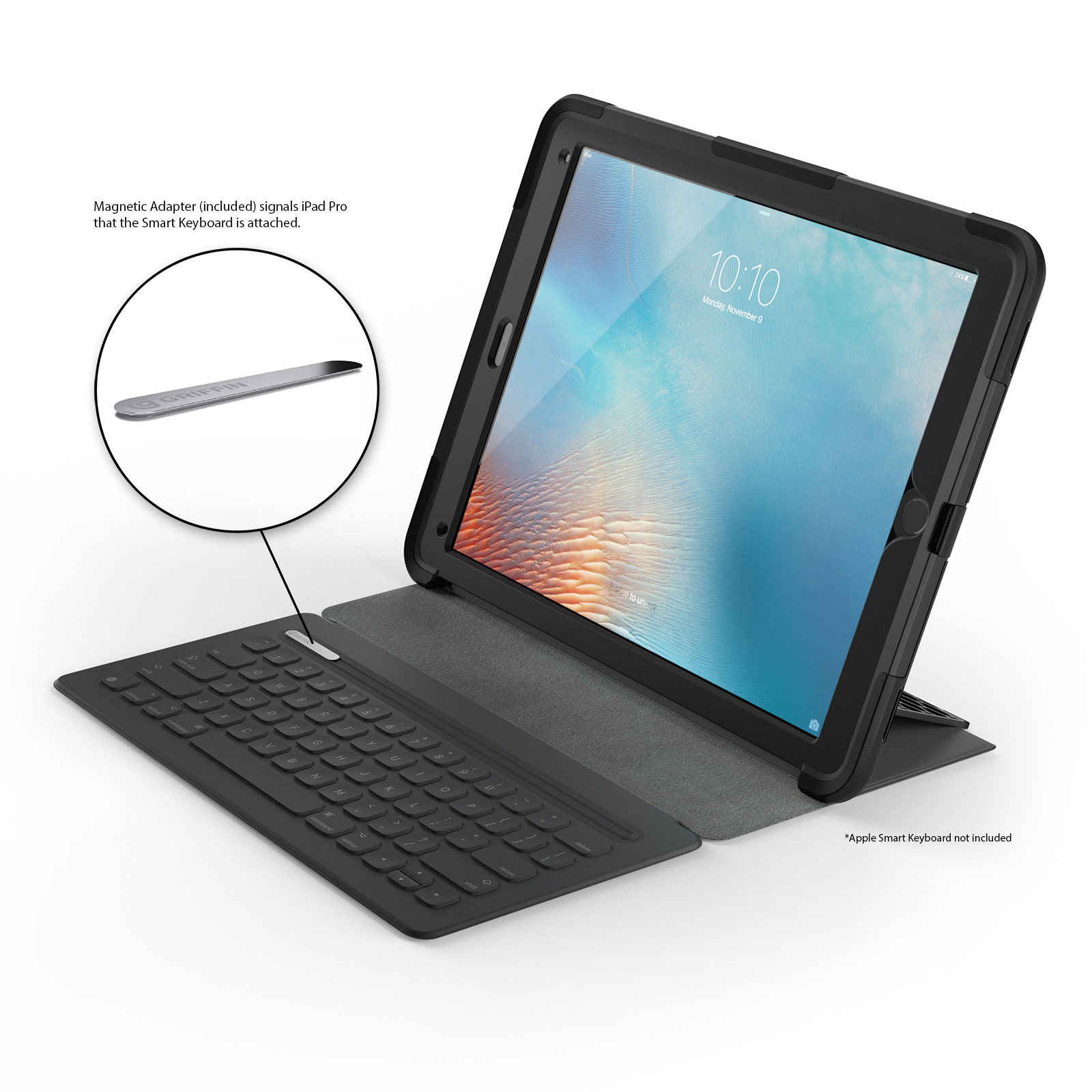 iPad Pro 12.9 Case- Black/Blue Survivor Slim Protective Case + Stand