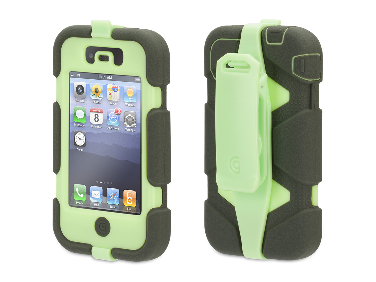 Dusty Olive/Lime Survivor All-Terrain Case for iPhone 4/4s