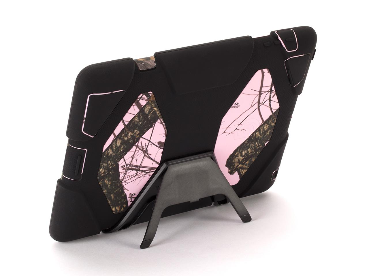 Pink Breakup/ Black Survivor All-Terrain in Mossy Oak Camo + Stand for iPad 2