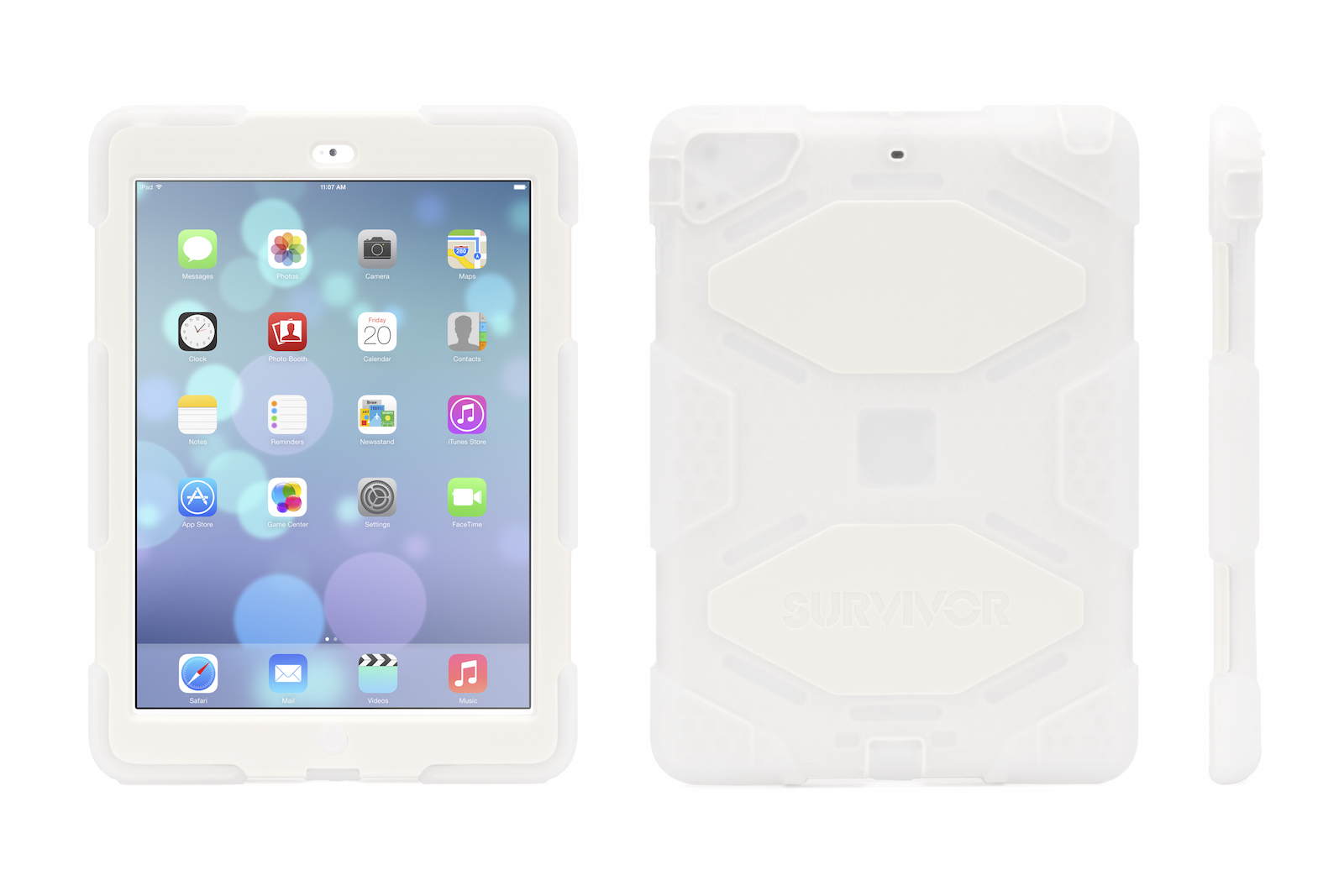 Frosted/White Survivor All-Terrain Case + 2 ft Lightning Cable for iPad Air