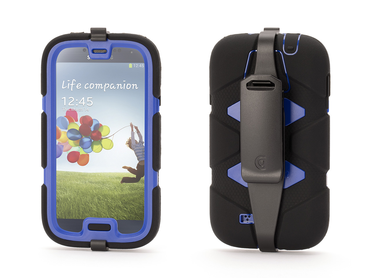 Black/Blue Survivor All-Terrain Case with Belt Clip for Samsung Galaxy S4
