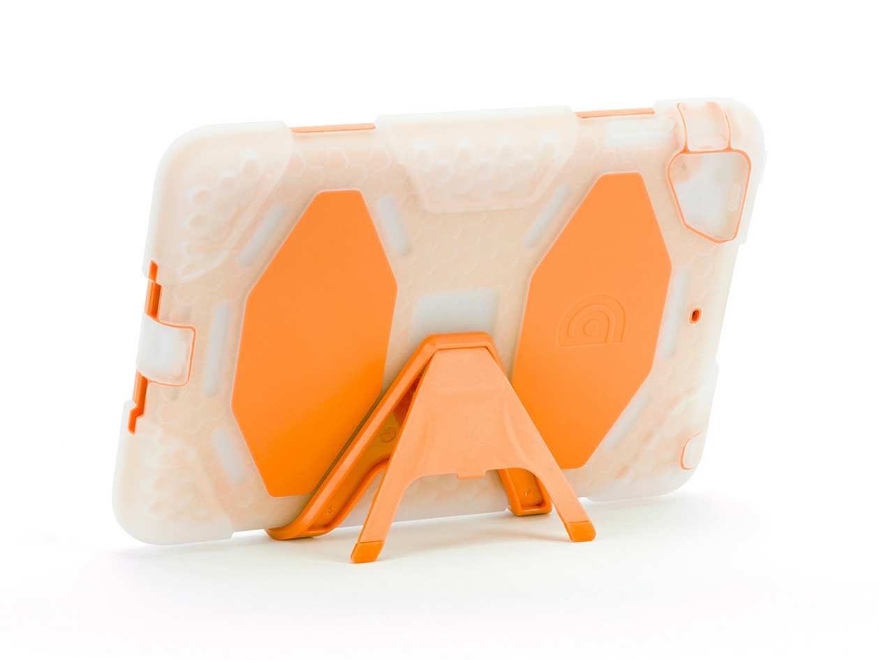 Clear/Orange Survivor All-Terrain Heavy Duty Case + Stand for iPad mini