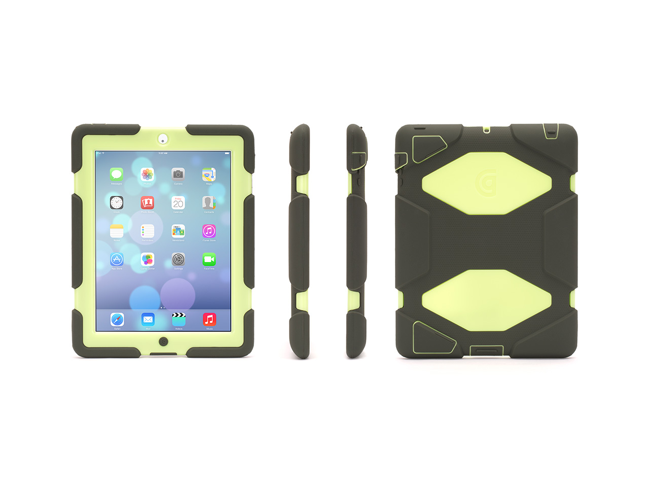 Olive/Lime Survivor All-Terrain Case + Stand for iPad 2