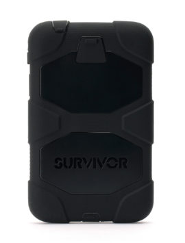 Black Survivor All-Terrain Case + Stand for Samsung Galaxy Tab 3 7.0