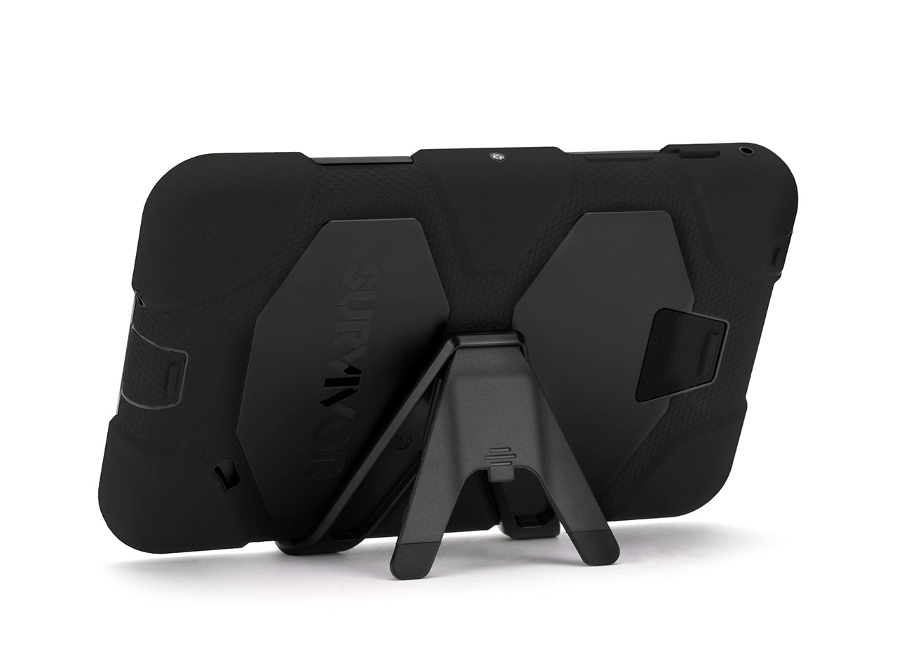 Black Survivor All-Terrain Case + Stand for Samsung Galaxy Tab 4 7.0