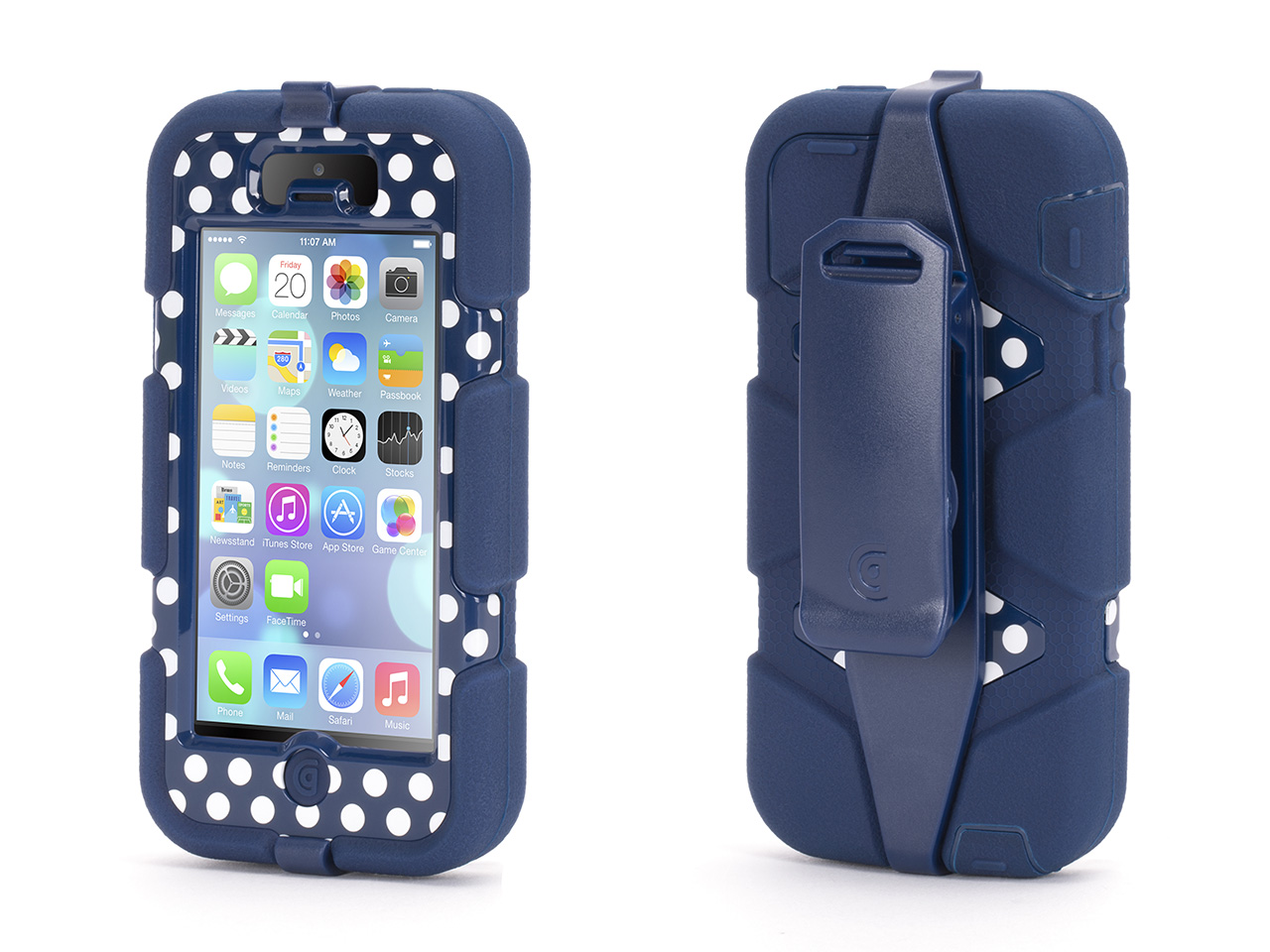 Blue/ Polka Dots Heavy Duty Survivor All-Terrain Case for iPhone 5/5s