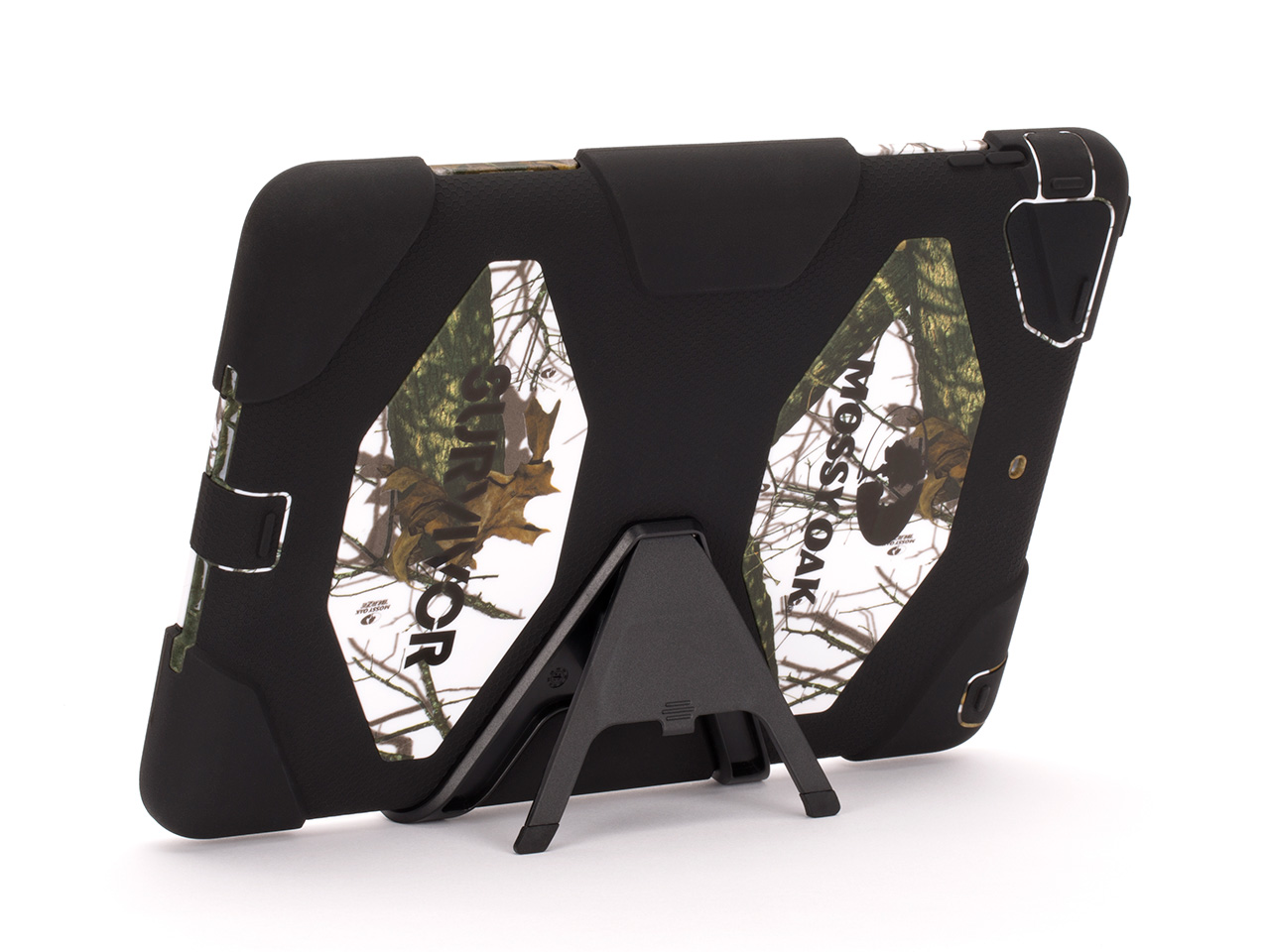 Winter Breakup/Black Survivor All-Terrain in Mossy Oak Camo + Stand for iPad Air